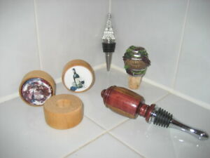 Wine Bottle Cork Stoppers Lot 5 Wooden/Porcelain/Eiffel Tower/Napa Valley/Stand