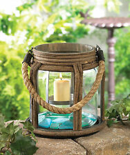 """Small Old World Camping Candle Lantern Candleholder Glass Metal Wood 7.5"""" Tall"""