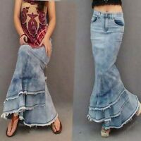 Womens Denim Slim Mermaid Long Dress Jeans Pleated Skirt Fashion Dresses SZ S-XL
