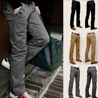 2017 Mens Straight Leg Slim Fit Trousers Casual Long Chino Business Formal Pants