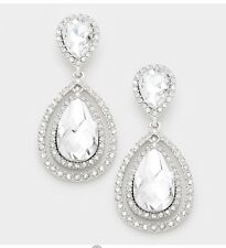 "2.25"" Bridal Long Drop White Silver Clear Rhinestone Crystal Wedding Earrings"