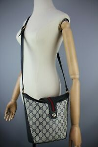 GUCCI WEB STRIPE GG Authentic Vintage Monogram Canvas Navy Leather Crossbody Bag