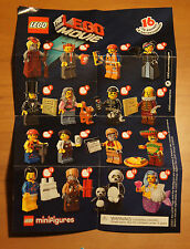 The LEGO Movie MINIFIGURE Series INSTRUCTION CHECKLIST Mini-Insert Poster Only