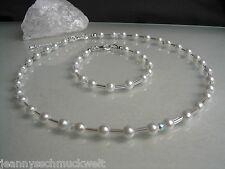 Neu~Schmuckset mit Perlen in weiss ,Armband,Collier