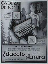 PUBLICITE EDACOTO AURORA LE DUO MODERNE STYLO PLUME DE 1931 FRENCH AD ART DECO
