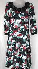 NEXT (UK8 / EU36) BLACK STRETCH JERSEY FLORAL DRESS WITH CUT-WORK NECKLINE - NEW