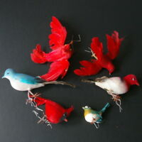 6 Bird Christmas Ornaments Red Blue Vintage Spun Cotton Feather Wire