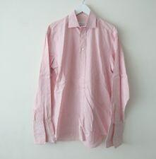 Ermenegildo Zegna Mens Pink White Striped Long Sleeve Formal Shirt size 39 15.5