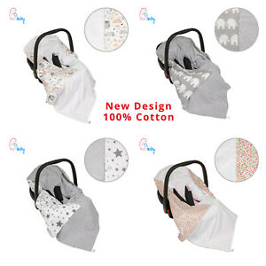 New Light 100% Cotton Double Sided Baby Wrap for Car Seat Baby Car Seat Blanket