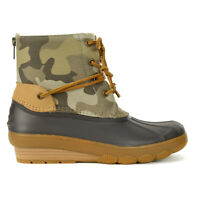Sperry Women's Saltwater Wedge Tide Camo Duck Boots STS80844 NEW!
