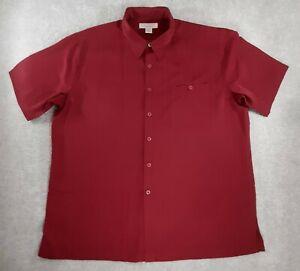 Island Republic Shirt Adult Mens 2XL Casual Red Button Down Short Sleeve