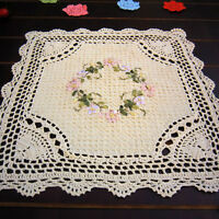 Square Tablecloth Handmade Crochet Cotton Lace Flower Doily Table Cover Mat 42cm