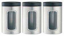 Brabantia Tea, Coffee and Sugar Canister Set, 3 Piece, 1.4L, Matt Steel