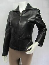 Ladies Black Leather Zip Slim Tight Fitted Short Biker Jacket Punk Bike
