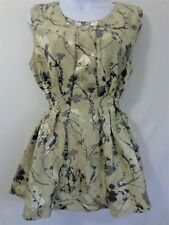 SIMPLY VERA WANG Top Size 14 Light Gold Black Tie Back Sleeveless Blouse Shimmer