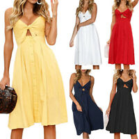 Womens Strappy Tie Front Button Dress Ladies Summer Holiday Beach Midi Sundress