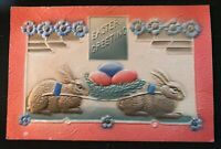 Colorful Bunny Rabbits with Eggs ~Antique Airbrushed Easter Postcard-s253