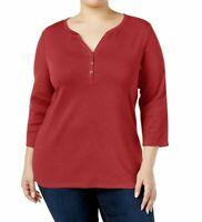 Karen Scott Women's Plus Size Split Neck 3/4 Length Sleeve New Red Top