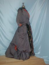 Antique Dress 1880's Gray Silk Stripe Velvet Bustle Victorian Dress
