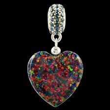 Alducchi Black Rainbow lab Opal Puffy Heart- Crystal .925 Silver Dangle Charm