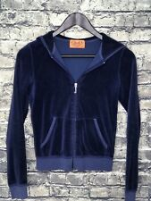 JUICY COUTURE Soft Velour Hooded Track Full Zip Jacket Athleisure Women's Size S