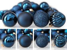 24ct 40mm Dark Blue Mix Christmas Ball Ornaments Shatterproof Tree Decorations