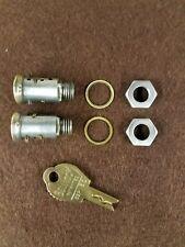 2 DUNCAN/MILLER 60/76 PARKING METER MALE LOCK CYLINDERS, RESTRICTED KEY & 2 NUTS