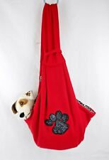 (RED/ANIMAL PRINT) SEQUIN PAW Hands Free Small Dog Cat  Soft Sling Carrier