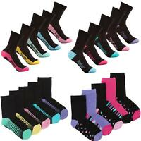 Girls/Kids 5/10 Socks Pairs Pack COTTON RICH EVERYDAY Casual School Design Black