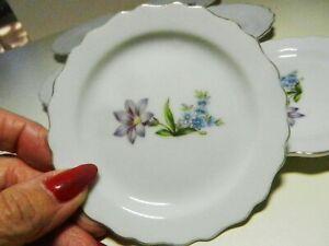 6 Matching Butter Pat-Coaster Plates Violet Floral Scalloped Rim Gold Trim-Japan