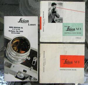 ORIGINAL LEICA M3 CAMERA INSTRUCTION BOOK MANUAL & VINTAGE LEICA LENSES BROCHURE