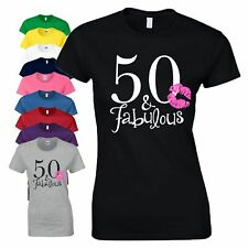 50th Birthday Gift T Shirt 50 And Fabulous Kiss Lips Love Women Ladies Tee Top