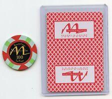 $100 Las Vegas TV Show Props Montecito Chip and 9 of Diamonds Card rare Find.