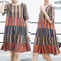 ZANZEA Women Summer Striped Patchwork Ladies Summer Beach Midi Shirt Dress Plus