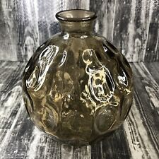 Vintage Amber Glass Vase Round Thumbprint Smoky Yellow Globe MCM Modern Decor