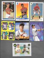 1991 Topps #333 Chipper Jones Rookie & 6 Chipper Jones RC. Atlanta Braves Cards