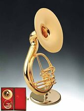 "Miniature Musical Instrument -4.5"" GOLD MINIATURE SOUSAPHONE W/STAND & CASE CGSS"