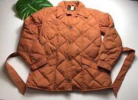 Vintage EDDIE BAUER Goose Down Filled Pumpkin Orange Jacket Coat Womens Sz M