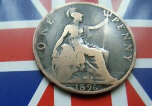 1896 QUEEN VICTORIA ONE PENNY COIN OLD HEAD IN GREAT CONDITION FOR AGE