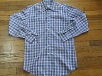 Mens Peter Millar Long Sleeve Dress Shirt Medium Plaid M Casual Button Front