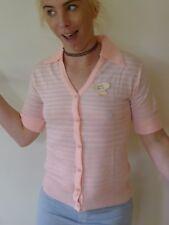 Vintage retro 60s unused knit NWT cardigan tags pink white stripes short sleeves