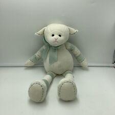 "Bearington Baby Green Cream Sheep Lamb Plush Soft Toy Stuffed Animal 15"""