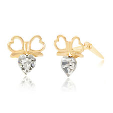 9ct yellow gold double heart in bow crystal Andralok stud earrings / Giftbox