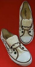 Ed Hardy Women's Art Fashion Shoes Sz. 7M White With Brown Trim Fold Over Tongue