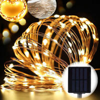 Outdoor Solar Powered 10M 33Ft 100 LED Copper Wire Light Party Fairy String New
