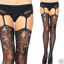 Suspender Garter Black Floral Top Net Stockings Open Tights Thigh-High Pantyhose