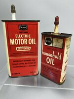 Vintage Oil Cans Sears Craftsman Motor Household Tin Advertising Gift Lot Of 2