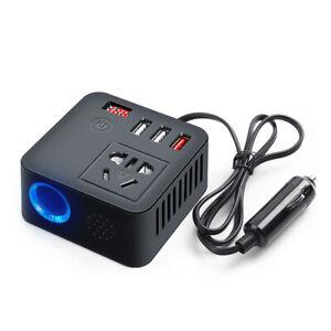 LED Digital Car Auto Power Inverter DC 12V 24V to AC 220V w/ 3USB Socket Charger