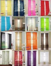 "2Pc Sheer Set Voile Rod Pocket Window Panel Curtain Solid Elegance Drapes 84"" S"
