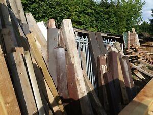 old oak and soft wood gate posts